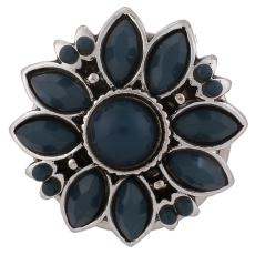 boutons-pression en métal bleu avec strass