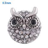 12MM Owl snap Plateado de plata antigua con diamantes de imitación blancos KS8015-S broches de joyería