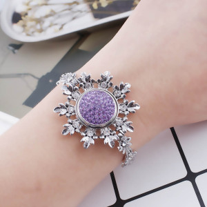 18mm Sugar snaps Alloy with purple rhinestones KB2304 snaps jewelry