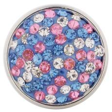 青いラインストーン付きボタンをスナップKC2816スナップジュエリー