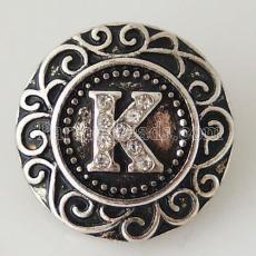 20MM English alphabet-K snap Antique silver  plated with  Rhinestones KB6264 snaps jewelry