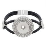 19CM black Silica Gel Armbänder mit Strass KC0794 passen zu 18MM Snaps Chunks