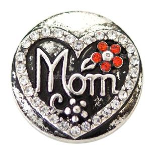 20MM love mom snaps Versilbert mit weißem Strass KB6883 snaps jewelry