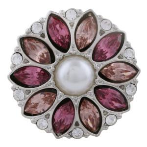 Astilla de diseño 20MM plateada con diamantes de imitación rojo rosa y perlas KC5703 broches de joyería
