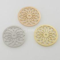 Los encantos de monedas de acero inoxidable 33MM se ajustan al tamaño de joyería pequeño loto