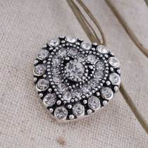 20MM Loveheart snap Antique Silver Plated avec strass blanc KC7146 s'encliquette bijoux