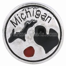 20MM State round snap Chapado en plata antigua con esmalte negro KC6092 broches de joyería