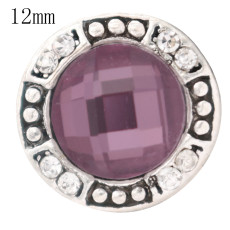 12MM design snap antique sliver Plated with purple Rhinestone KS6360-S snap jewelry