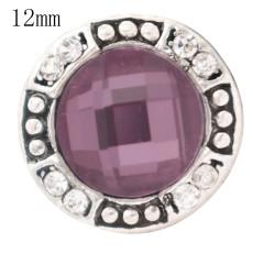 Diseño 12MM broche antiguo plateado plateado con diamantes de imitación púrpura KS6360-S joyería rápida