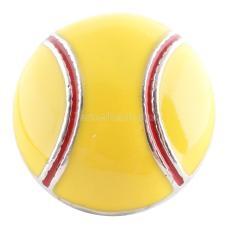 20MM Snap de baseball plaqué argent avec émail jaune KC6086 s'encliquette bijoux