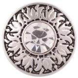 20MM Patrón decorativo chapado en plata con diamantes de imitación blancos KC5473 broches de joyería