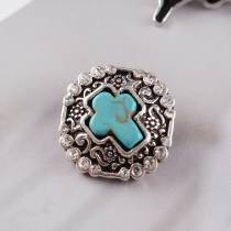 20MM snap Silver Plated avec strass et cyan Turquoise KC6224 snaps bijoux
