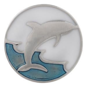 20MM Delphin Snap Versilbert mit Emaille KC9874 Snap Schmuck