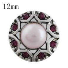 Дизайнерская оснастка 12MM со стразами и розовыми бусинами KS5188-S Сменные ювелирные украшения