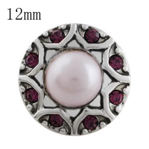 Broche de diseño 12MM con diamantes de imitación y cuentas rosadas KS5188-S joyería de broches intercambiables