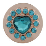 20MM snap coeur en plaqué or rose avec strass cyan KC7605 snaps bijoux