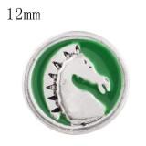 12mm Pferd Klein mit grünen Emaille-Druckknöpfen für Schmuckstücke