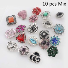 10pcs/lot High quality silver plated MixMix many styles 20mm Snap buttons MIX style for random Snaps Jewelry