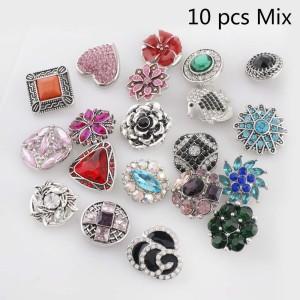 10pcs / lot MixMix plateado de alta calidad muchos estilos 20mm Botones a presión Estilo MIX para joyería aleatoria Snaps