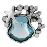 20MM дизайн оснастки посеребренная с голубыми стразами KC6471 оснастки ювелирные изделия