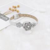 Broche de flores 20MM Plateado plata antigua con diamantes de imitación blancos y perlas KC7707 broches de joyería