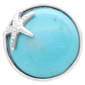 20MM snap silver Plated with Big pinec cyan stone KC9096 snaps jewerly