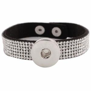 Botones 1 de cuero negro KC0240 con diamantes de imitación pulseras de nuevo tipo Ajuste de botón extraíble 20mm encaja trozos