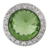 20MM Broche redondo plateado con diamantes de imitación verdes KC9837 broches de joyería