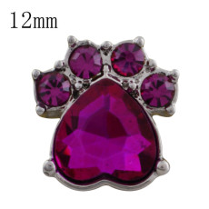 12MM Dog claws snap with rose Rhinestone KS5181-S interchangeable snaps jewelry