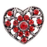 Broche hueco 20MM Chapado en plata antigua con diamantes de imitación rojos Joyas a presión KC9803