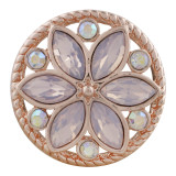 20MM round Rose-Gold Plated with pink opal KC7543 snaps jewelry