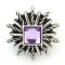 20MM Polygon snap Antique Silver Plated with purple rhinestone KB5300 snaps jewelry