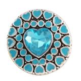 Botón a presión 20MM Heart Love Plateado de plata antigua con joyería a presión de cristal cian