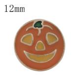 12MM Halloween chapado en oro con esmalte naranja KS6321-S broches de joyería