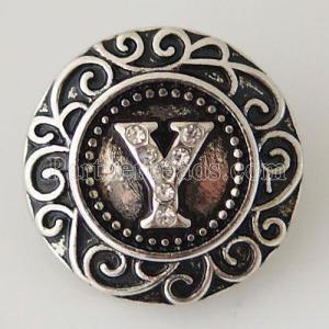 20MM Inglés alfabeto-Y complemento Chapado en plata antigua con diamantes de imitación KB6278 broches de joyería