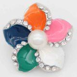 20MM broche de plata plateado con esmalte multicolor y perla KC6841 Multicolor