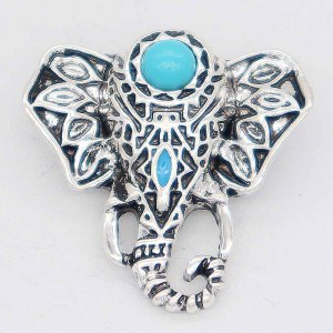 20MM Elephant snap Silver Plated avec cyan Turquoise KC6866 snaps jewelry