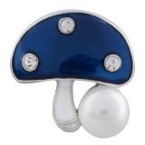 20MM Pilzverschluss versilbert mit blauem Emaille und Perle KC5591 schnappt Schmuck