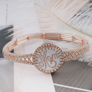 20MM mother Rose Gold-Plated with white rhinestone KC6487 snaps jewelry