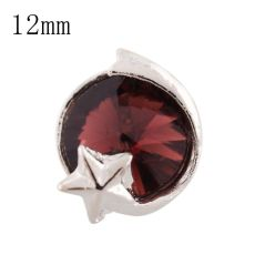 12mm star Small size snaps silver plated with Purplish red Rhinestone for chunks jewelry