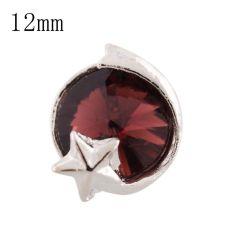 Estrella 12mm Broches de tamaño pequeño chapados en plata con diamantes de imitación rojo purpúreo para joyas en trozos