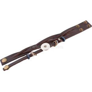 Кнопки 1 Коричневая кожа KC0642 с маленькими подвесками, браслеты нового типа, подходят к защелкам 20mm