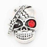 Astilla de calavera 20MM chapada con diamantes de imitación rojos KC6700 broches de joyería