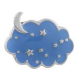 20MM Mond und Sterne schnappen versilbert mit blauem Emaille KC5590 schnappen Schmuck