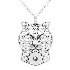 Retro smear Tiger head silver pendant Necklace with 60CM chain KC1074 fit 20MM chunks snaps jewelry