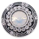 20MM complemento redondo plateado con diamantes de imitación blancos KC6275 joyería de broches intercambiables