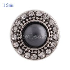 12MM round snap Antique Silver Plated with rhinestone and gray pearl KS8018-S snaps jewelry
