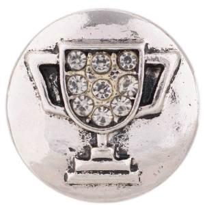 20MM Трофейная оснастка Античное серебро, покрытое белым горным хрусталем KC7421 Сменные украшения с защелками