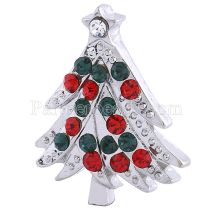 20MM Christmas Tree Snap Versilbert mit Strass KC6161 Christmas Snaps Schmuck