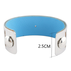 Stainless Steel Bangle sliver with real leather fit 20mm snap chunk sanp jewelry